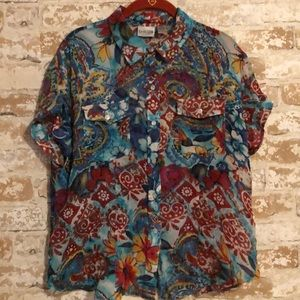 Chico's Sheer Blue & Red Floral Print Blouse Sz 2